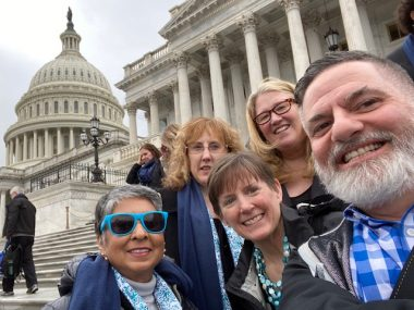 Fundraising \ Scleroderma News \ Five people participating in Rare Disease Week on behalf of the Scleroderma Foundation pose in front of the U.S. Capitol in Washington, D.C., in February 2020.