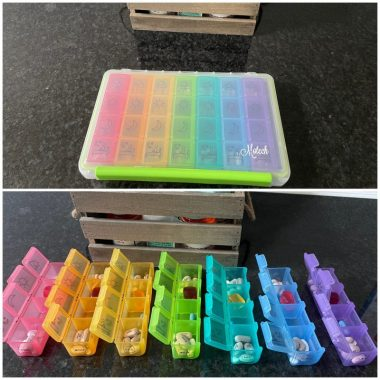 Two images of Lisa's weekly rainbow-colored pill organizer. The top image shows the organizer closed up, and the bottom image shows the seven rows open with pills inside.