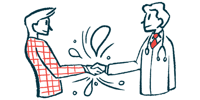 topical therapy FBM5712   Scleroderma News   Illustration of two people shaking hands