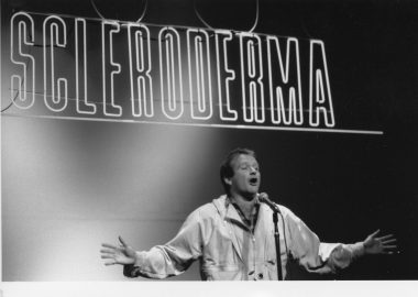 Cool Comedy   Scleroderma News   Comedian Robin Williams performs at the CCHC benefit in New York City in 1987