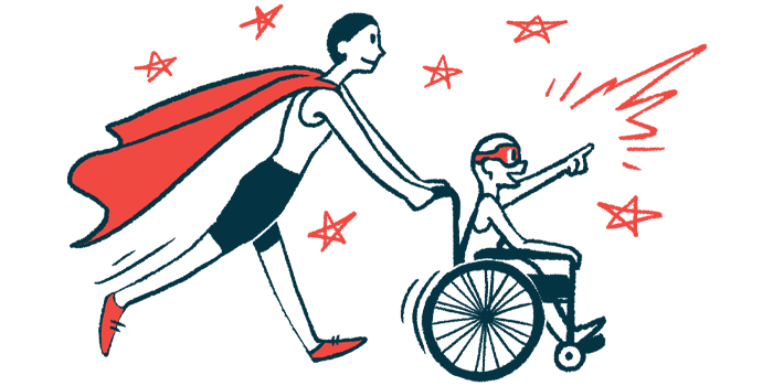rare disease clinical trial participants | Scleroderma News | Illustration of woman in cape pushing child in wheelchair